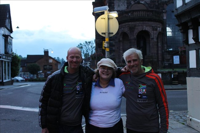 Andrew Stuart, Cynthia Sperry and David Grier after they signed the TV agreement in Whitchurch, England.