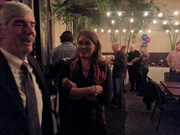 William Harvey and Sharon Quirk-Silva awaited results at Hidalgo Cafe.