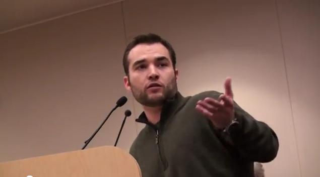 Matt Rowe speaks to the public.
