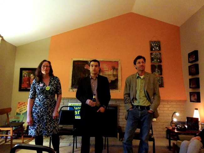 Jane Rands, Matt Rowe, and Glenn Georgieff  speak at Stephan Baxter's home.