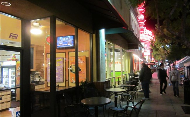 Brea makes extensive use of sidewalk dining on Birch street, all with no lease fees.